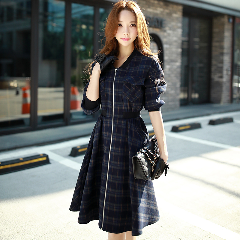 new 2017 autumn big sizes korean half sleeved zipper fashion casual large hem plaid trench coat women