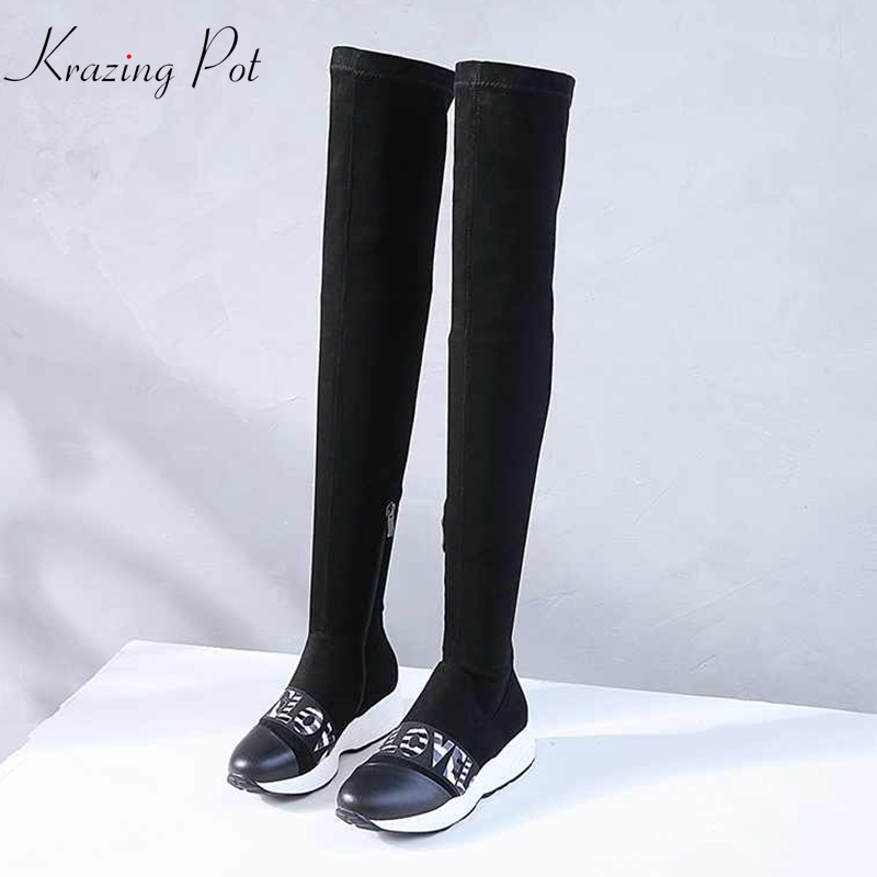 Krazing Pot 2019 hot sale genuine leather winter stretch boots wedges leisure casual round toe fashion