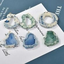 Купить с кэшбэком Blue-green halo-dyed rock textured oval-shaped ins wind resin DIY handmade earrings accessories material accessories