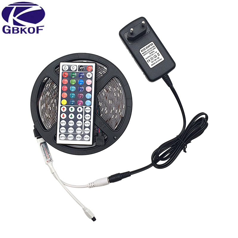 купить SMD RGB LED Strip light 5m DC 12V 5050 60leds/m 30leds/m led light led tape diode ribbon waterproof 5m strip with Power Adapter по цене 312.79 рублей