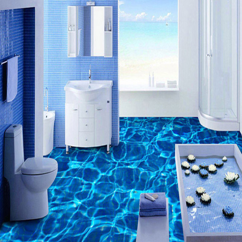 Modern minimalist water wave floor mural wallpaper for Bathroom floor mural sky