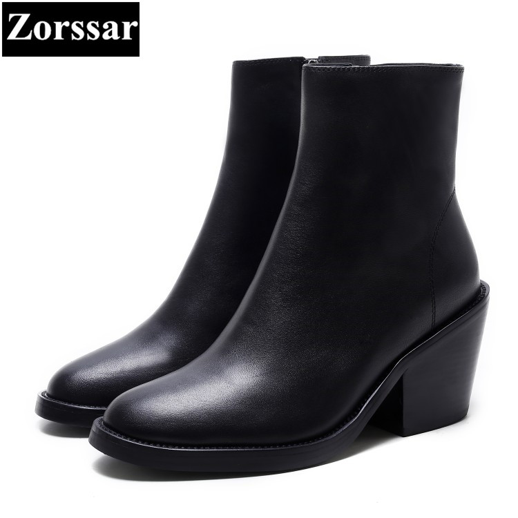 {Zorssar} 2018 NEW fashion women Riding boots Genuine leather Round Toe High heels womens ankle boots Autumn winter women shoes womens shoes round toe platform high heels pumps women ankle boots 2017 new fashion metal decoration genuine leather woman heels