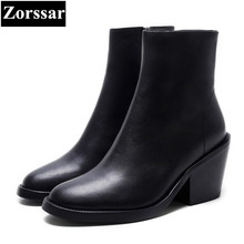 {Zorssar} 2018 NEW fashion women Riding boots Genuine leather Round Toe High heels womens ankle boots Autumn winter women shoes