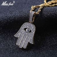 MISSFOX Hip Hop Hamsa Evil Eye In Hand Long Pendant 24K Gold Plated AAA Cubic Zirconia Fashion Jewelry Long Necklaces Pendants