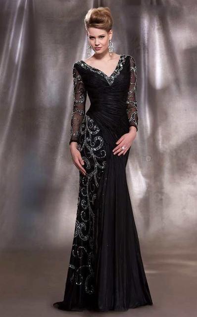 2016 lindo mãe da noiva vestidos de manga comprida V Neck frisado Plus Size vestidos de noite W120804
