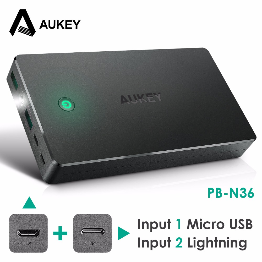 Aukey 20000mAh Portable Charger External Battery Power Bank Smart Charging Lightning Input Micro Input 2 4A