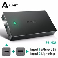 Aukey 20000mAh Portable Charger External Battery Power Bank Smart Charging Lightning Input Micro Input 2 4A