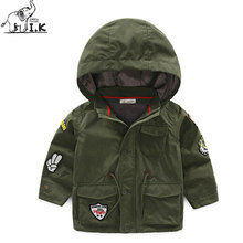 I.K Boy Jacket For Winter Warm Plus Cotton Hoodies 2017 Fashion Children Baby Kids Green With Cartoon Patch Cute Clothing DP3014