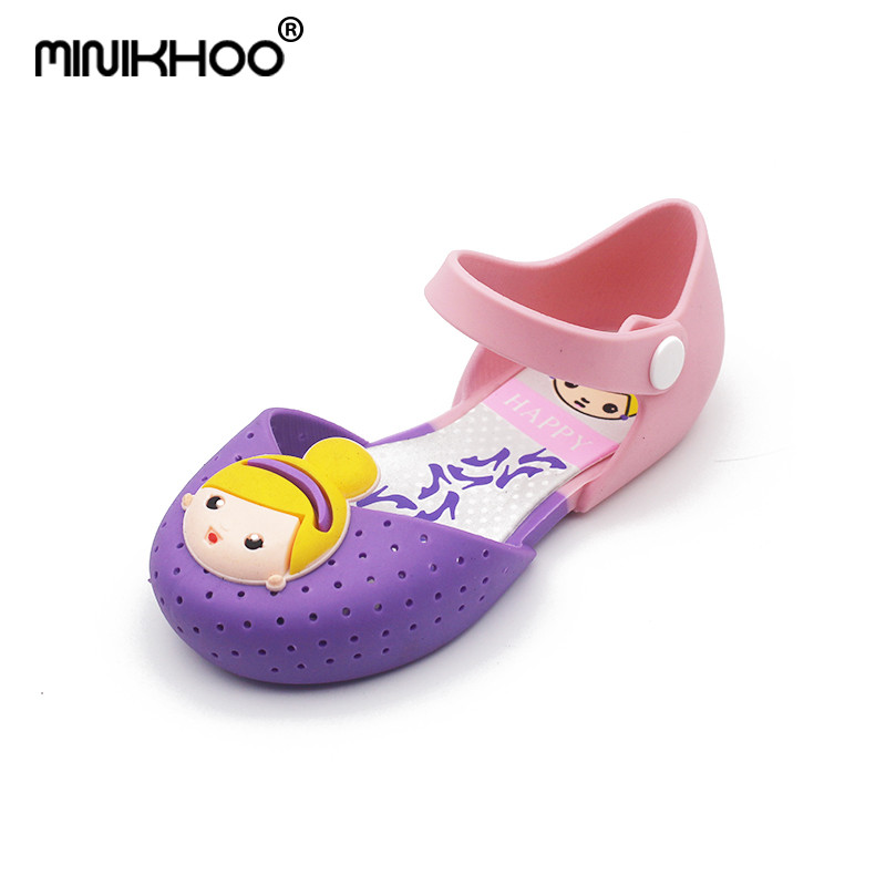 Mini Melissa 2018 Girls Sandals Jelly Princess Summer Children Shoes Jelly Crystal Shoes Cartoon Girls Melissa Crystal Shoes
