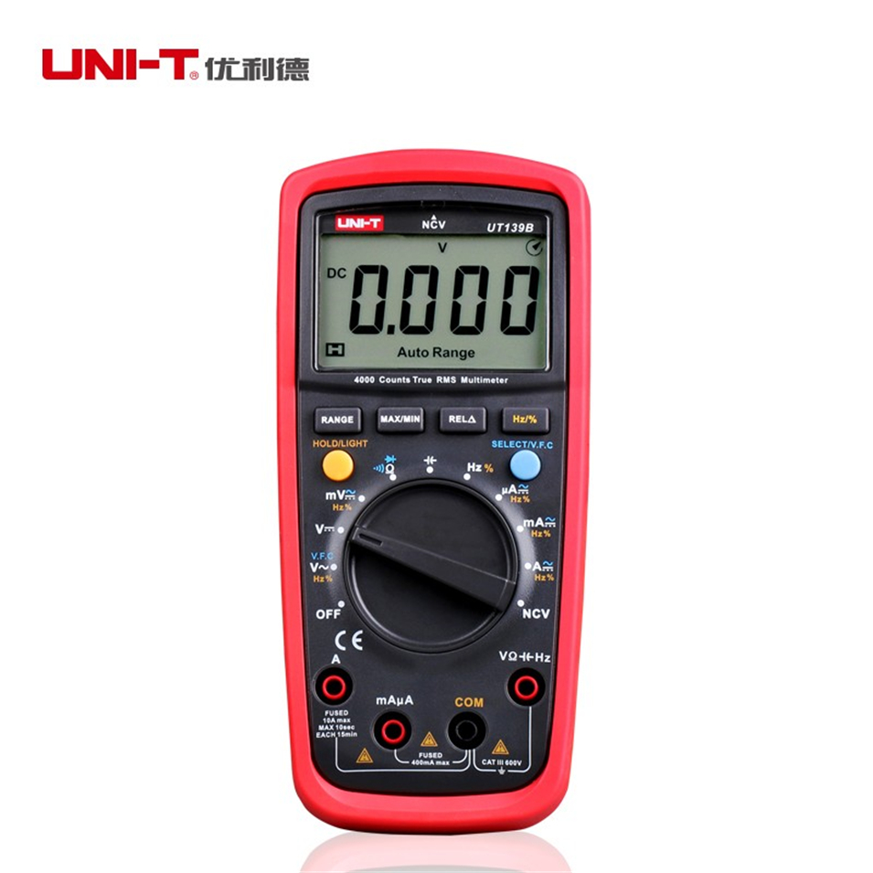 UNI-T UT139B True RMS NCV 4000 Counts DMM Digital Multimeters Handheld Tester Multimetro LCR Meter Ammeter Multitester mastech ms8260f 4000 counts auto range megohmmeter dmm frequency capacitor w ncv