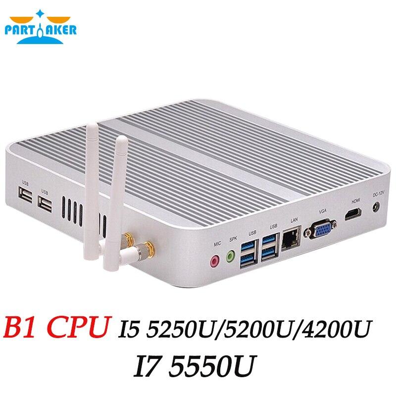 Partaker Fanless Mini PC System Core i5 4200u Haswell Design 1 6Ghz HDMI Ultra HD 4K