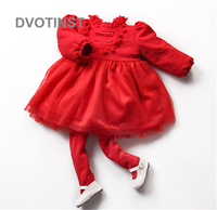 Dvotinst Newborn Baby Girls Clothes Bodysuits Dresses Fluff Keep warm Dress Chinese style Outfit Infant Toddler Jumpsuit Costume