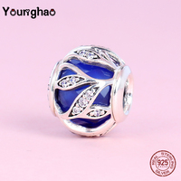 Younghao 925 Sterling Silver Blue Flower Tree Charms CZ Crystal Beads Fit Pandora Bracelet for Women DIY Jewelry Making Gifts