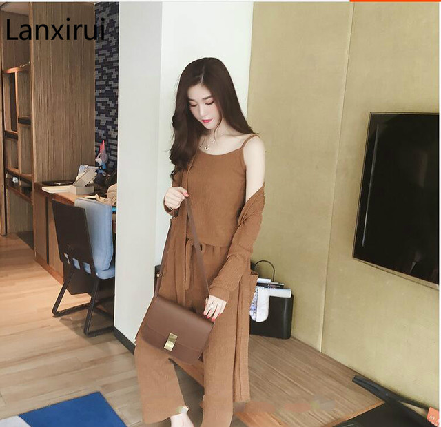 3 Pieces Set Knitted Pullover Sweaters Tops Deep V-neck Long Sleeve Sweatshirt Pants Women's Sets 4