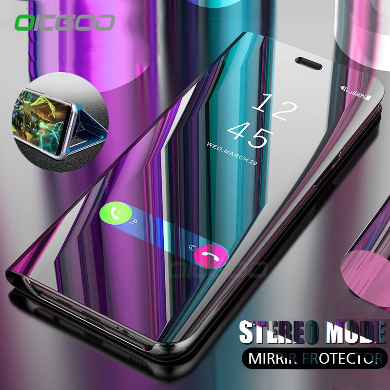 picked up exclusive range official supplier Clear View Mirror Smart Samsung Galaxy S8 S9 Plus Note8 S7 Edge Flip Stand  Case Coque For Samsung A6 A8 Plus Cover