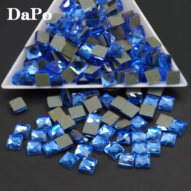 2017 HOT Square 6X6mm Sapphire Stones HotFix FlatBack Rhinestones Glass  Strass e9498927d3a7
