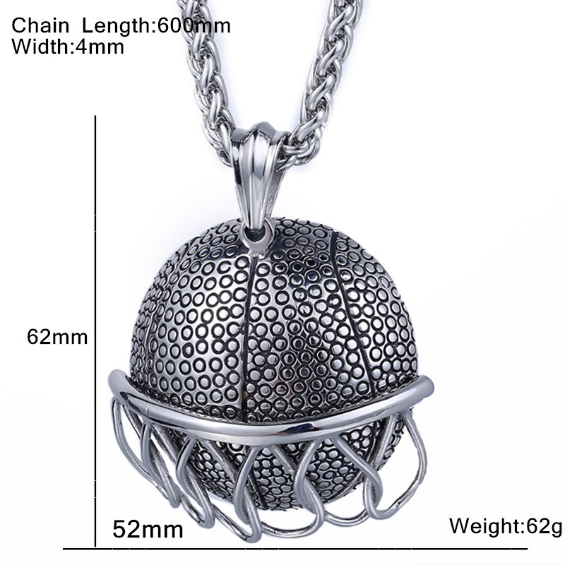 Basketball Slide Net Hollow Back Pendant Necklace Stainless Steel Hiphop Rock Style Boys Mens Boys Chain Jewelry in Pendant Necklaces from Jewelry Accessories