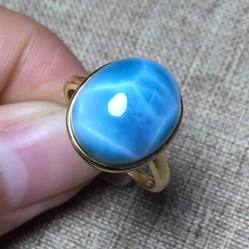 KUIJIA Natural Larimar Ring Copper Pectolite size13.5*11.3mm The ring can be adjusted freely