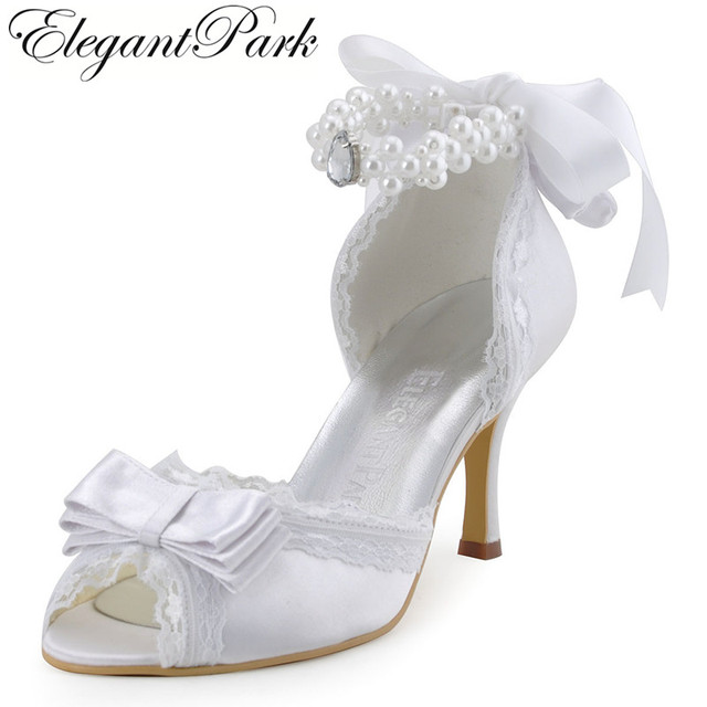 Woman Wedding Shoes A3202 Ivory White High Heel Pearls Ankle Strap Peep Toe  Bow Satin Lady bride Evening Prom dress Bridal Pumps 358eef9866a2