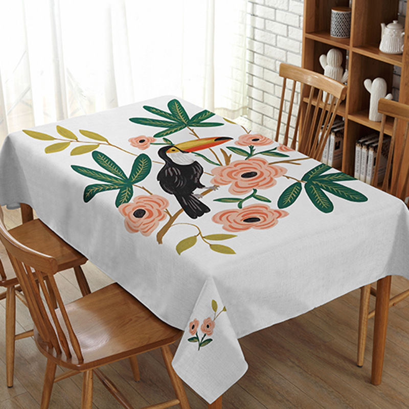 Pastoral thick pizza lin table cloth creative dust cloth plant flower long square table cloth