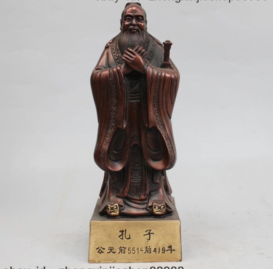 Statue chinoise chinoise en Bronze rouge cuivre Kongzi Kong zi Confucius