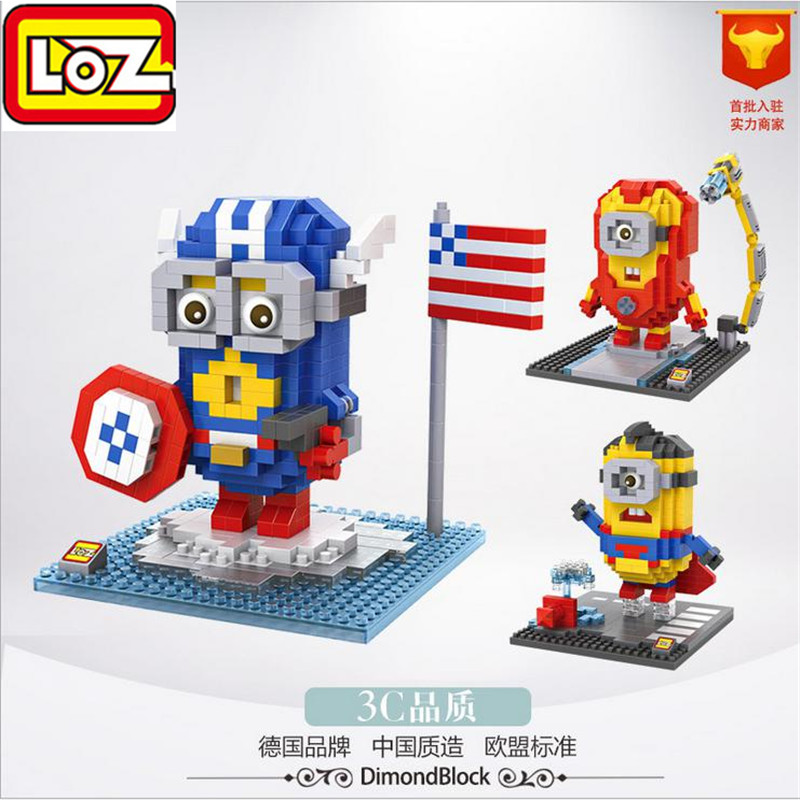 LOZ Mini Nano Block Despicable Me Avenger Captain America Iron Man Thor Superman Hulk Action Figure Brick Kid Best Gift Toy 9536 barbour pубашка