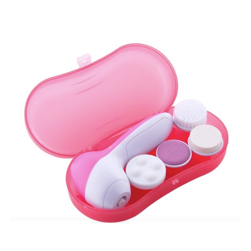 4 in 1 Electric Facial Cleaner 2 Speed Rotary Face Blackhead Cleansing Brush Massager Puff set for Cleaning Face acevivi 5 1 multifunction electric face facial brush cleansing spa skin care cleaning facial massager face cleaner best quality