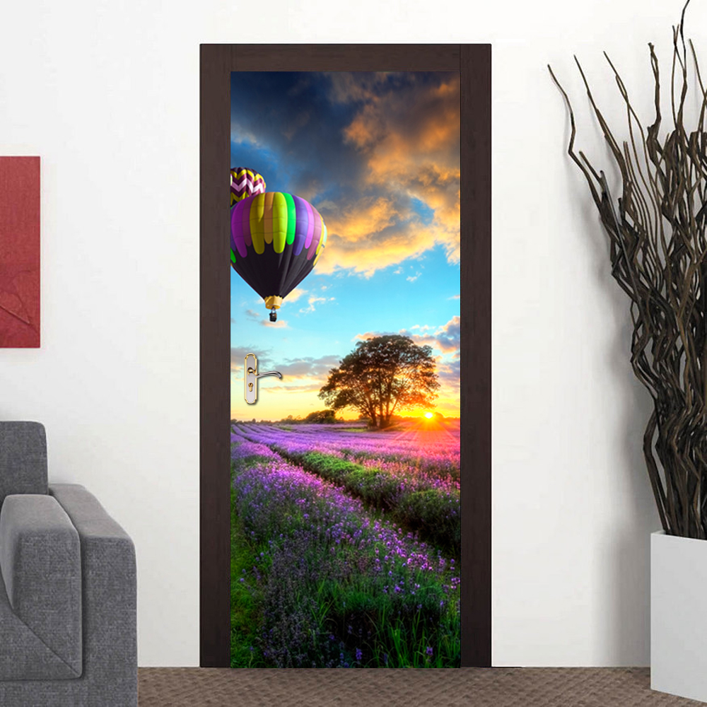 3D Decor Landscape Hot- Air-Balloon Door Stickers Wallpaper Waterproof Door Self Adhesive Wall Decals Living Room Home Decor stylish diy purple mangnolia and letters pattern wall stickers for home decor