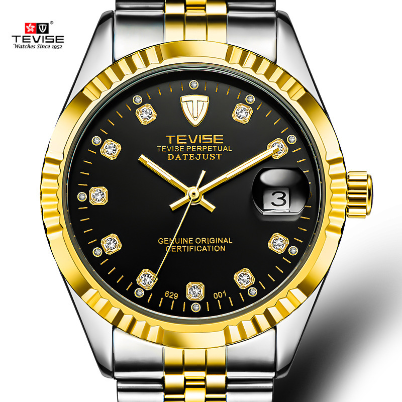 цена Tevise Business Automatic Watch Men Stainless Steel Golden Strap Mechanical Watches Waterproof Mens Clock Relogio Masculino saat онлайн в 2017 году