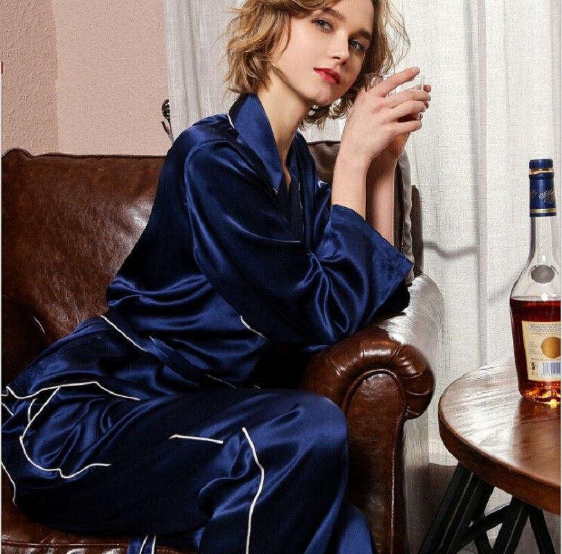 Шелковые пижамы наборы длинный рукав женщины 2019 Весна комплект из двух предметов 100% шелковые Домашняя одежда пикантные пижамные наборы брю