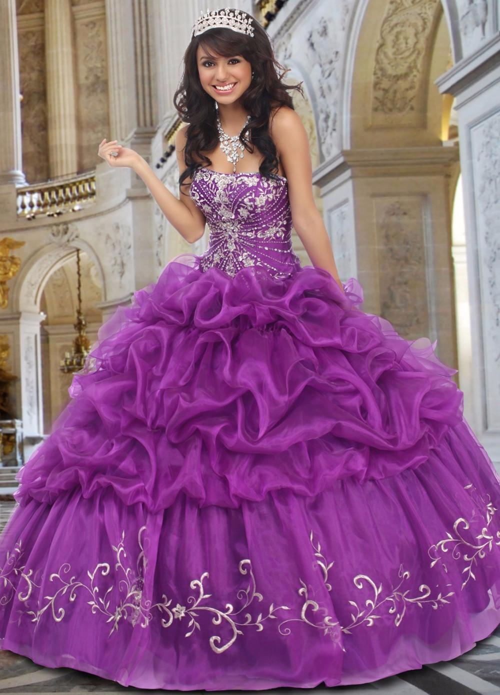 Vendimia Púrpura del vestido de Bola Puffy Quinceaneara Vestidos ...