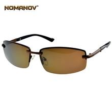 Nomanov = Alloy Rimless Brown Polarized Sunglasses Uv400 Uv100% Mens Sh
