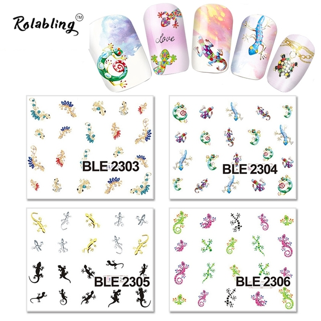 2017 very popular different colour and shapes qecko series water transfer nail sticker airbrush stencils nails