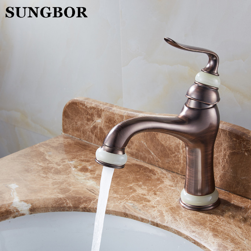 Deck Mounted Basin Sink Faucet Vintage Style Tap Black Bathroom faucets Brass finish washbasin taps Hot and cold water AL-7151L 5pcs tda7293 zip 15 120v 100w