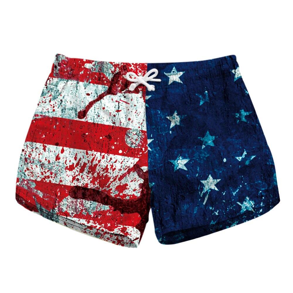 5 Patterns American Flag Print Womens Summer Workout Shorts Diamond Print  Black Red Spliced Fast Dry Shorts 91fbf32bcd