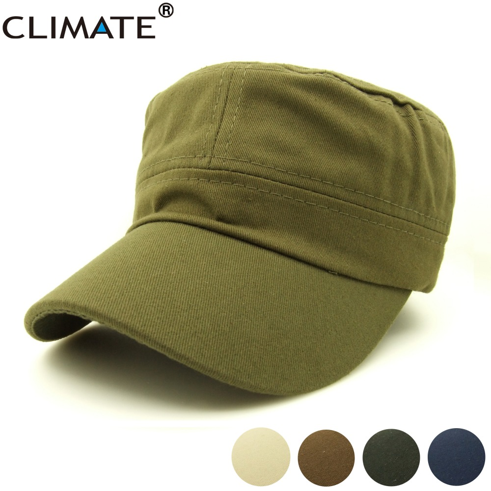 CLIMATE 2017 New Summer Men Cotton Solid Balck Green Thin Flat Top Caps Hat Men Adjustable Hunting Army Green Caps Hat fashion rivets cotton polyester fiber men s flat top hat cap army green