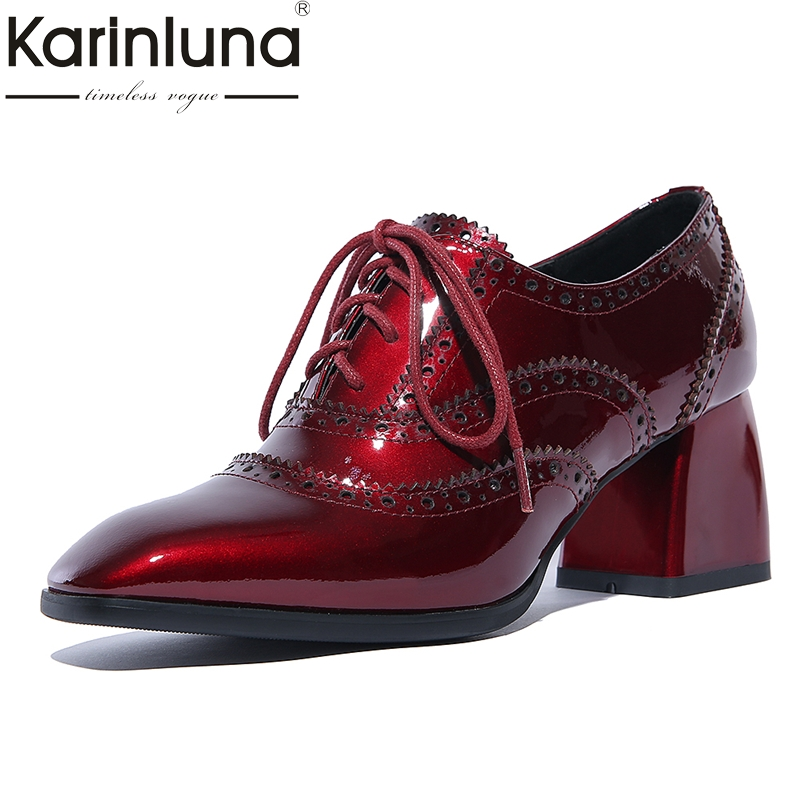 KARINLUNA Genuine Leather Size 34-39 Women Pumps Lace Up Shoes Woman Square Toe Fashion Black Red High Heel Woman Shoes Spring esveva 2017 ankle strap high heel women pumps square heel pointed toe shoes woman wedding shoes genuine leather pumps size 34 39