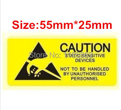 ESD CAUTION Sticker Warning Labels 55x25mm 100pcs/lot Waterproof PVC Material Adhesive Labels Free Shipping