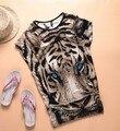 East knitting as-111 tiger camiseta impresa larga tops womens tees summer blue eyes popular camiseta del patrón animal de la manera nueva