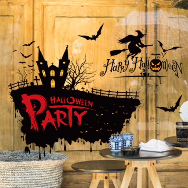 happy halloween house party castle witch glass wall stickers window flying bat bar shop home decorations