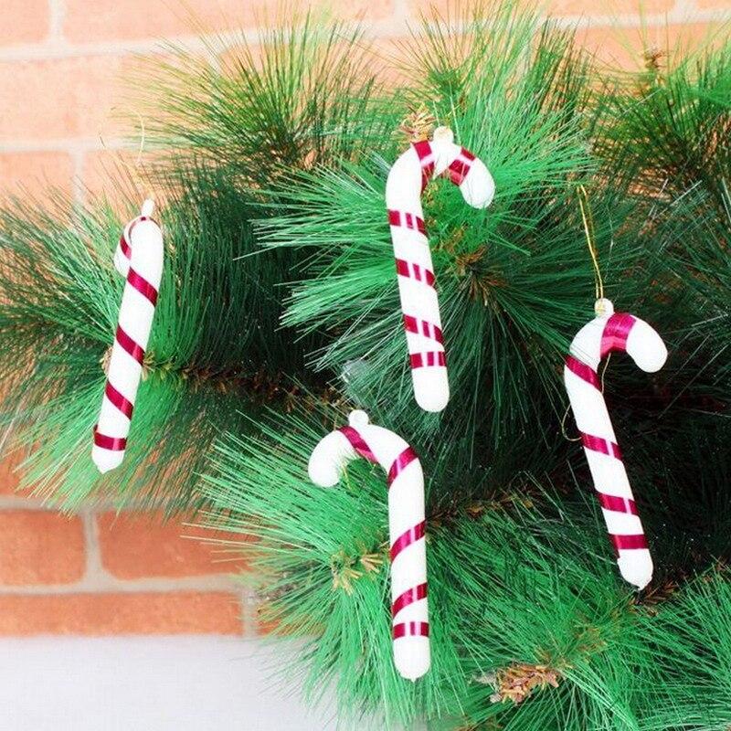 6 unids/bolsa bastón de caramelo plástico adornos del árbol de navidad adornos c