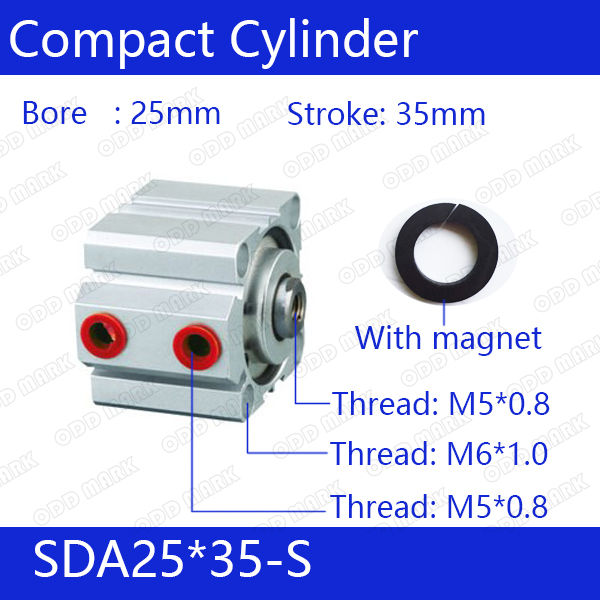 SDA25*35-S Free shipping 25mm Bore 35mm Stroke Compact Air Cylinders SDA25X35-S Dual Action Air Pneumatic Cylinder, Magnet sda16 70 s free shipping 16mm bore 70mm stroke compact air cylinders sda16x70 s dual action air pneumatic cylinder magnet