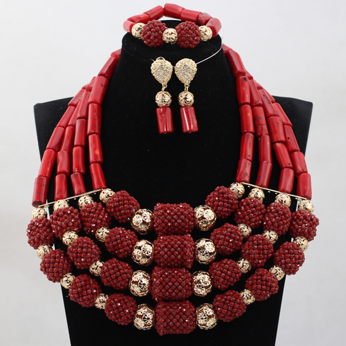 HTB12 F6bfal9eJjSZFzq6yITVXaT Marvelous Nigerian Traditional Wedding Coral Beads Jewelry Set African Indian Bridal Beads Necklace Set Free Shipping CNR659