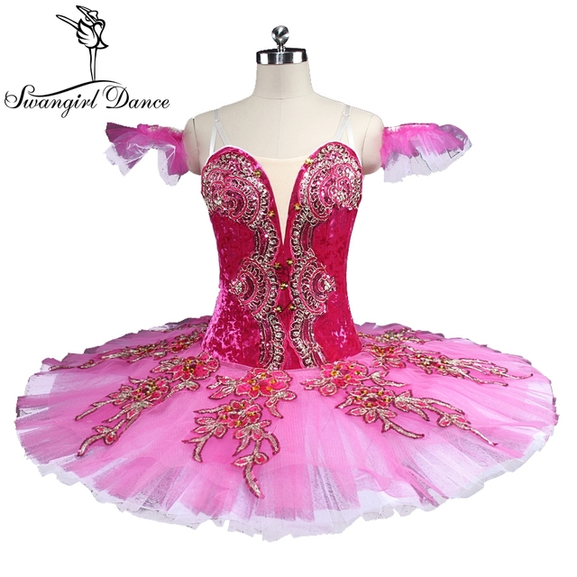 latest rose red esmeralda ballet tutu girls ballerina nutracker professional pancake ballet stage costumes BT9133
