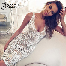 INDRESSME Sexy Deep V Backless Knee Length Women Bandage Dress Fashion Lace Bodycon Sleeveless Solid Lady Dress Vestidos 2018