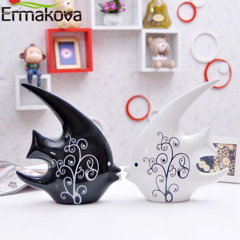 "ERMAKOVA 2 Pcs/Pair 24cm(9.4"")Height Ceramic Swallow Fish Couple Kiss Figurine Porcelain Animal Ornaments Modern Home Decor Gift"