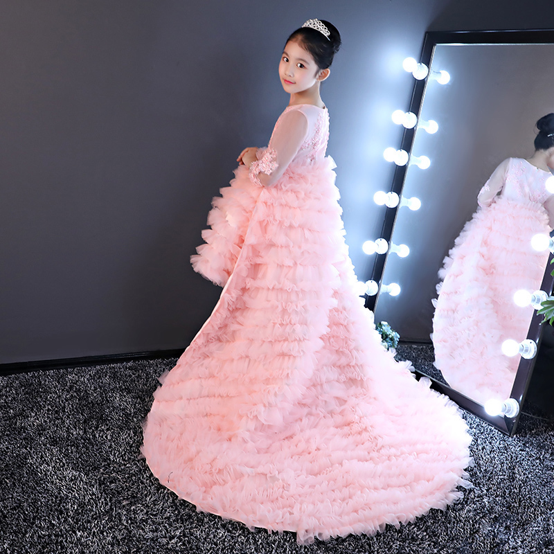 Luxury Pink Princess Dresses Flower Girl Dress For Wedding Long Trailing Ball Gown Kids Prom Gowns First Communion Dress A47 real picture kids evening gown luxury flower girl dresses for wedding long trailing princess dress ball gown beading dress
