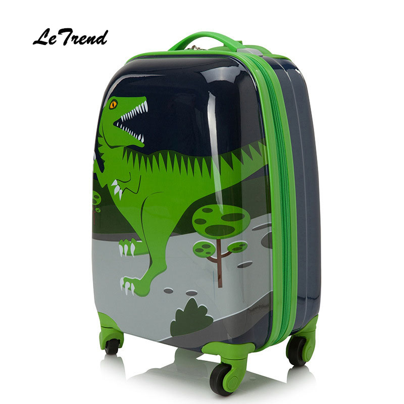 Letrend Cute Cartoon Suitcases Wheel Kids Dinosaur Rolling