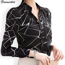 Шифоновые женские блузки Foxmertor Осенняя элегантная Офисная Женская рубашка с v-образным вырезом и длинным рукавом Blusas Feminina Топы# F114