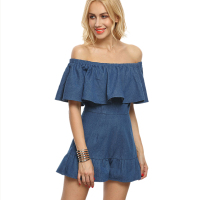 Off Shoulder Ruffle Denim Jumpsuit Romper Women Sexy Blue High Waist Overalls Elegant Summer Beach One